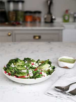 Signature Recipes | Charred little gem, courgette & radish salad with avocado dressing